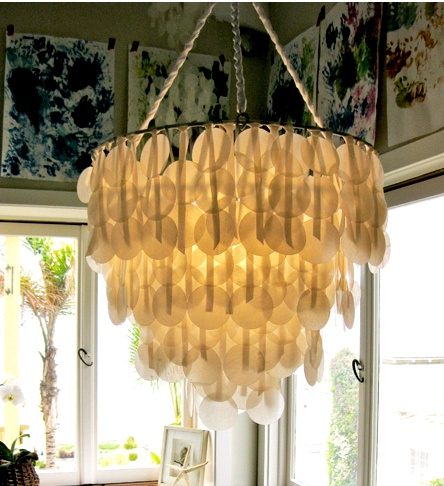 Paper capiz shell chandelier this might be one of my top 10 favorite projects weve ever run on the project brenna recreated a classic capiz shell lamp