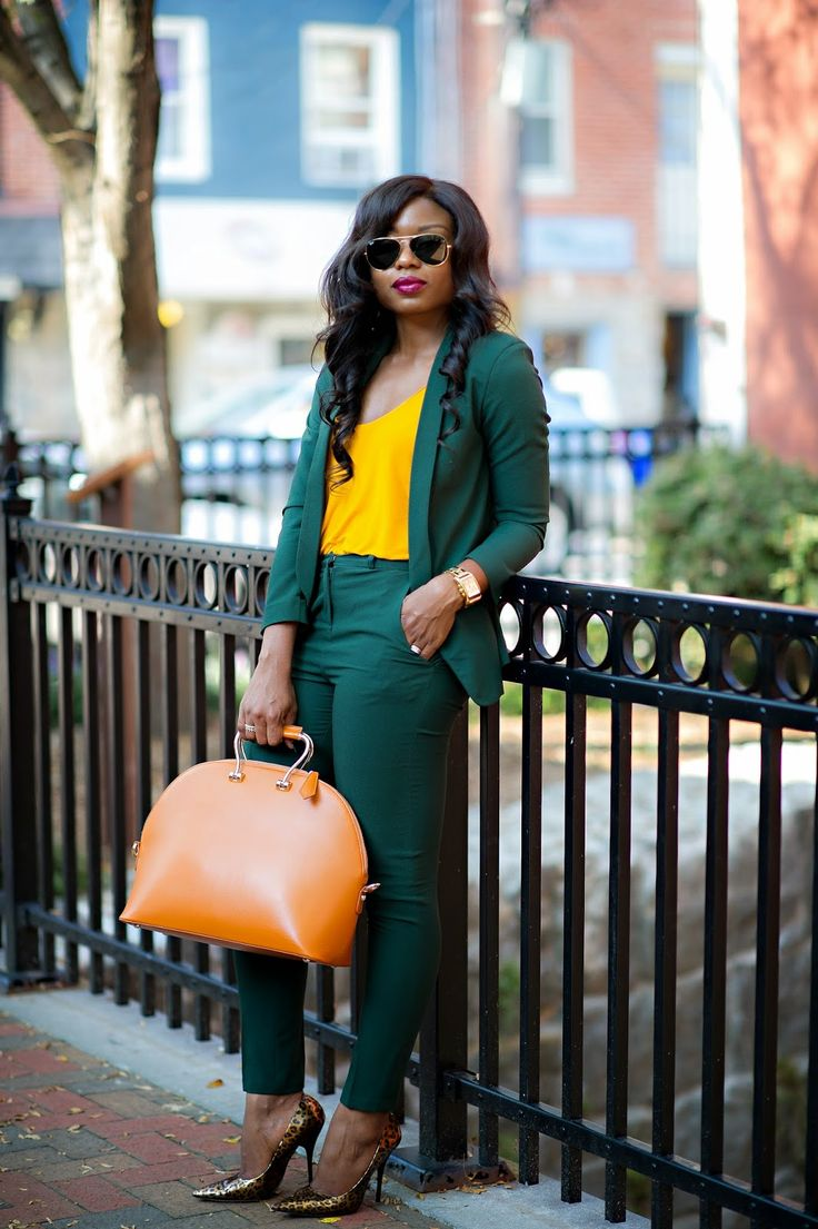Forest Green Pant Suit; Mustard Cami; Bronze Heels; Camel Colored Handbag