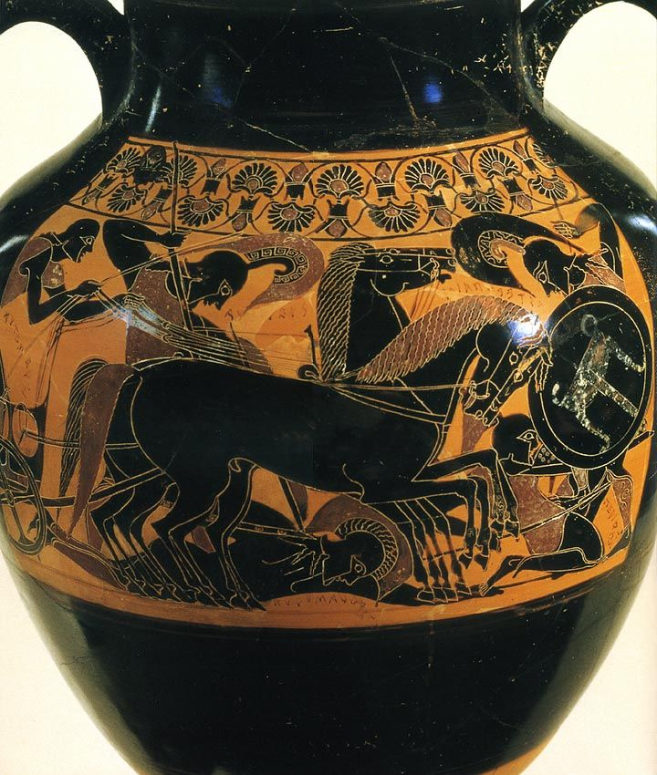 The scene of fight of the Trojan war.  Black-figure amphora. Chalcidice. Ascribed to the Inscription Painter. Clay. 550—540 B.C. Melbourne, National Gallery of Victoria.