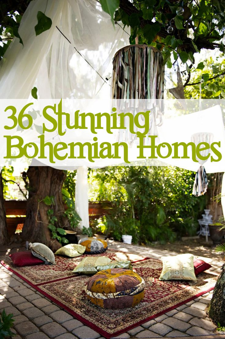36 Stunning Bohemian Homes You'd Love To Chill Out In Lush exotic fabrics, perfectly disheveled pillows, and overgrown foliage — these are the trademarks of the cozy yet eclectic bohemian aesthetic. Time to drop everything you're doing and hit the flea market.