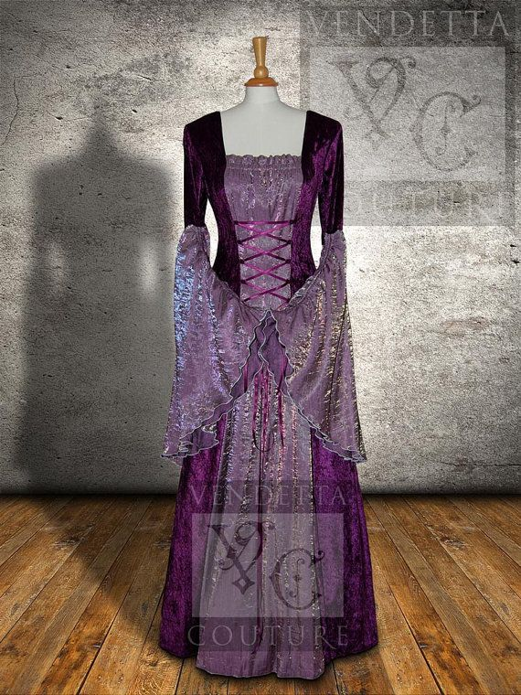 Meval Dress Celtic Wedding Gown Pagan Handfasting Ready Made Size Med Lrg