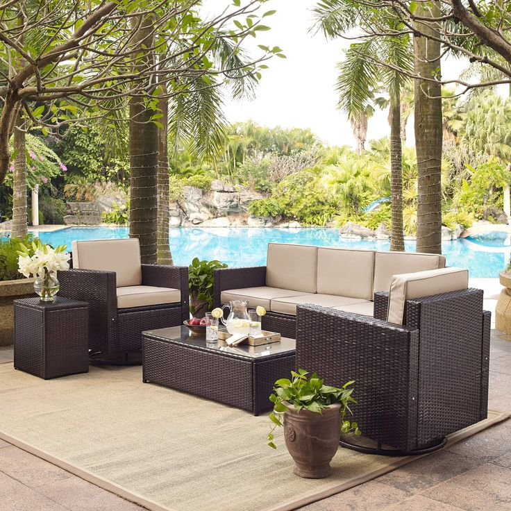 Crosley Palm Harbor 5-Piece Outdoor Sofa Conversation Set With Sand Cushions