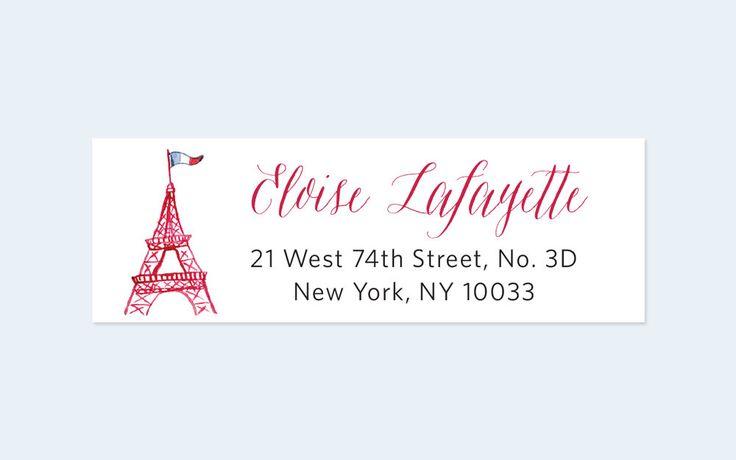 Eiffel Tower Return Address Labels Paris Return Address Labels by Leveret Paperie