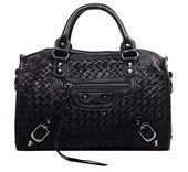 The Route 66 Woven Leather Small Bag Black