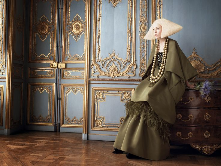 Christian Lacroix photoshoot takes place in a regal and opulent setting for Vogue.