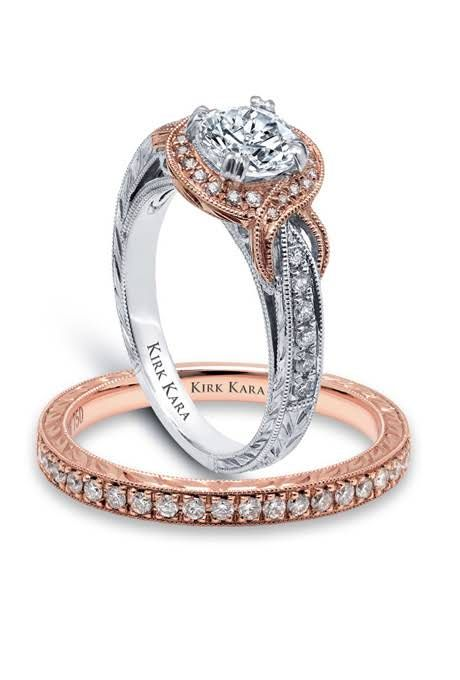 Love the two-tone look of the rose gold and silver. - Kirk Kara. Engagement  Ring ...