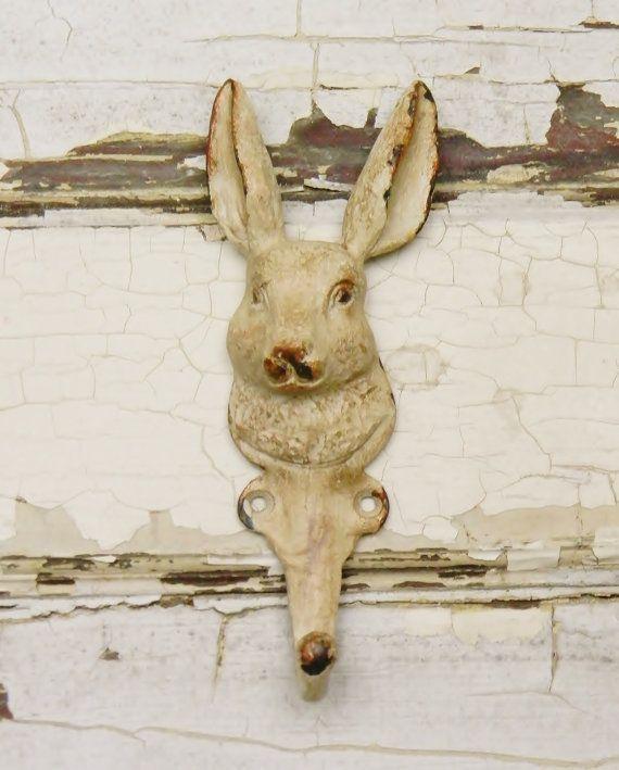 Bunny Wall Hook Animal Hooks Coat HooksCast Iron Single Nursery Decor Kids Bedroom