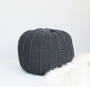 Round Ribbed Cord Pouf - living room