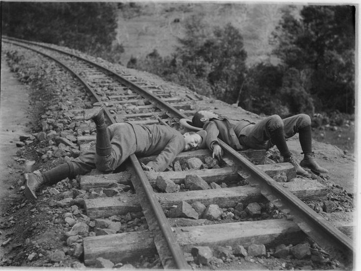 'Accident, Gembrook railway- a joke' 1900. State Library Vic Image H92.200/359
