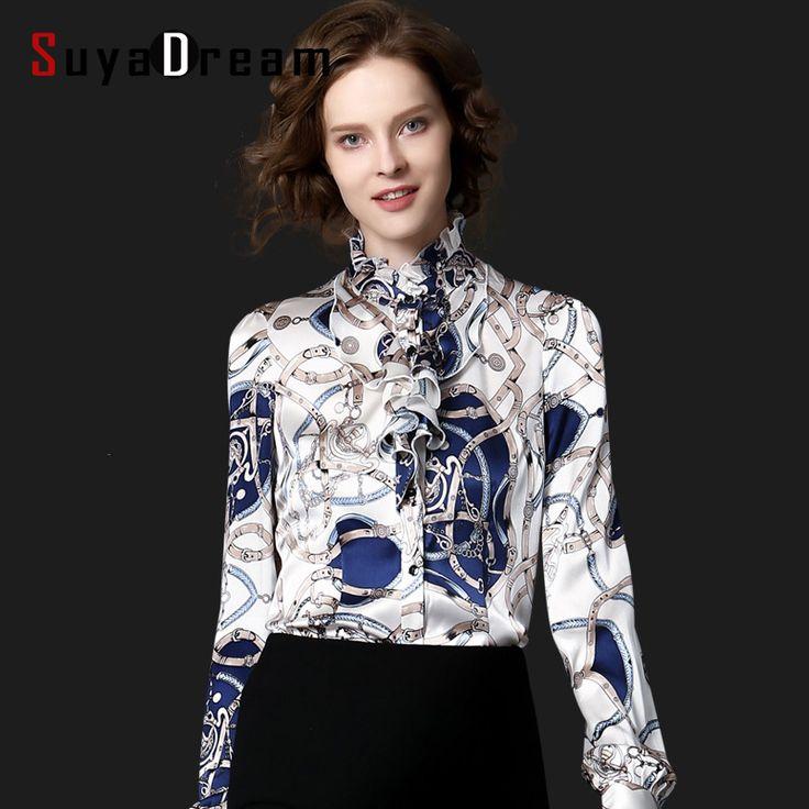 Women Silk Blouse Print REAL Silk Satin Women Blouses Ruffled collar PLUS SIZE shirt Blusas femininas STRETCH 2016 NEW Fall