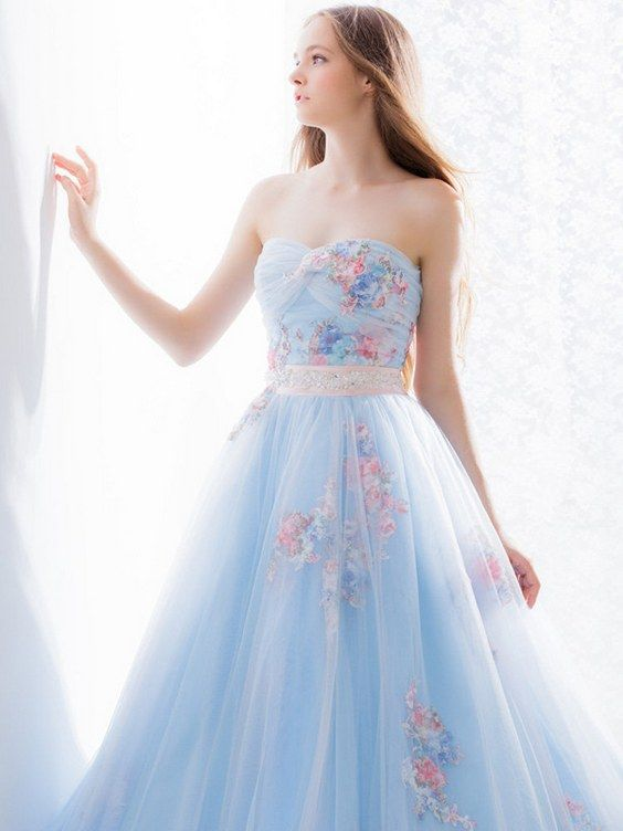 Hardy Amies London Light Blue Pastel Floral Wedding Dress / http://www.deerpearlflowers.com/floral-wedding-dresses/