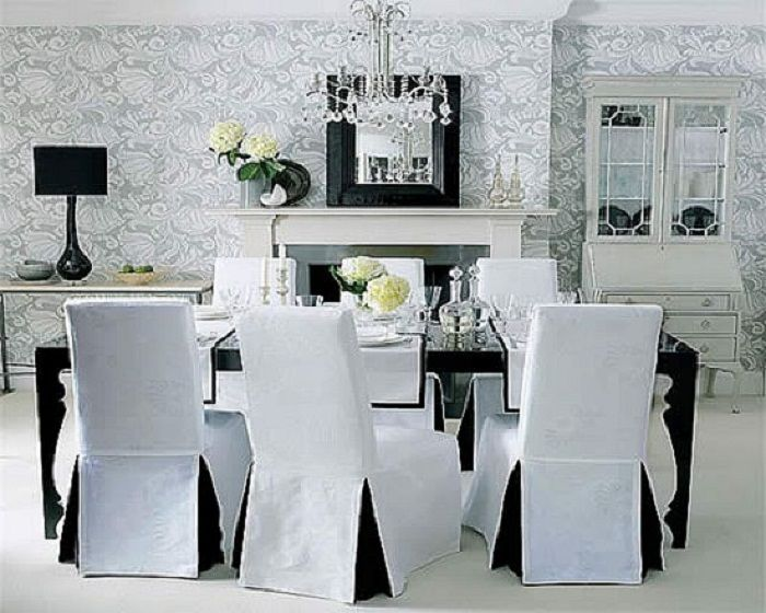 Dining Room Chair Covers Black And White Lanewstalk