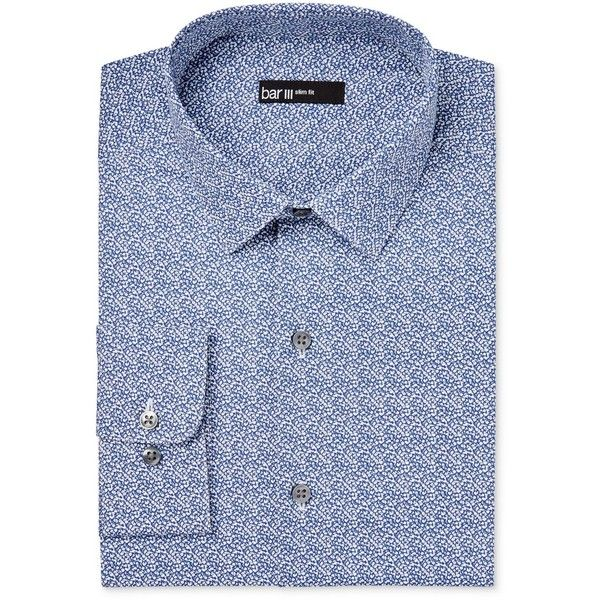Bar Iii Men's Slim-Fit Navy Cromwell Floral Print Dress Shirt, ($65) ❤ liked on Polyvore featuring men's fashion, men's clothing, men's shirts, men's dress shirts, navy, mens floral dress shirt, mens floral shirts, mens dress shirts, mens navy blue dress shirt and mens navy blue shirt