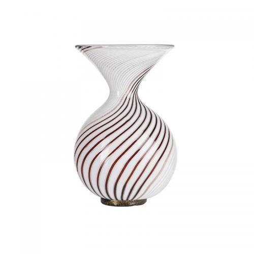 DINO MARTENS (1894 - 1970) AURELIANO TOSO Mezza filigrana bianca nera vase, Murano, Italy, 1950s Blown glass Unmarked 9 1/2 x 6
