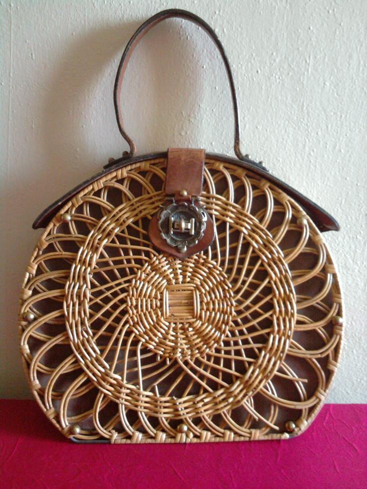 Vintage 50s Etienne Aiger Handmade Round Brown Leather Wicker Purse.