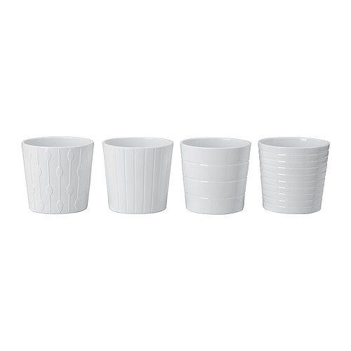 KARDEMUMMA Plant pot, white, assorted patterns white/assorted patterns 4 ¾