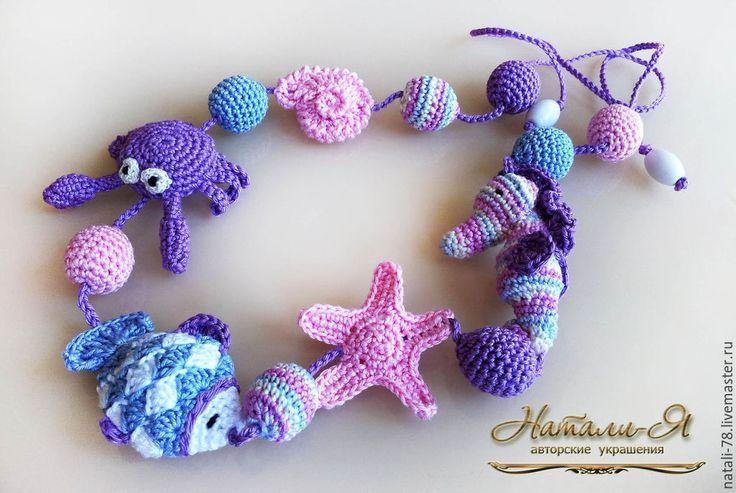 """Купить Слингобусы """"Морские обитатели"""" (2 вариант) - разноцветный, розовый, сиреневый, лавандовый, голубой, море"""