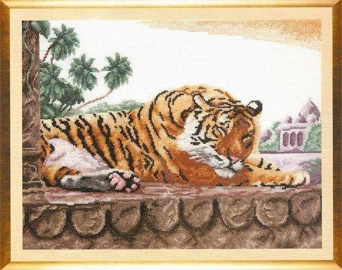 Sleeping Tiger Art In Cross Stitch or Needlepoint by LuckyKorat, $1.99