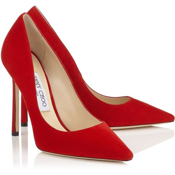 Red Suede Pointy Toe Pumps ROMY 110 ($530) ❤ liked on Polyvore featuring shoes…