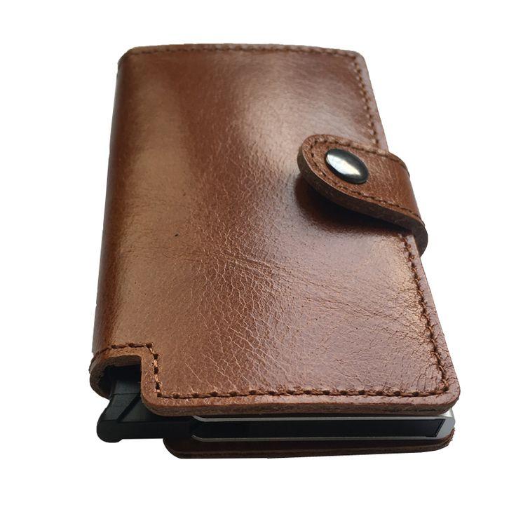 Best front pocket wallet Tuopuke IV genuine leather mini wallet