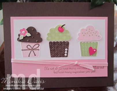 cards made using Build a cupcake stamp | ... pieces is a fun addition the build a cupcake punch make this card much