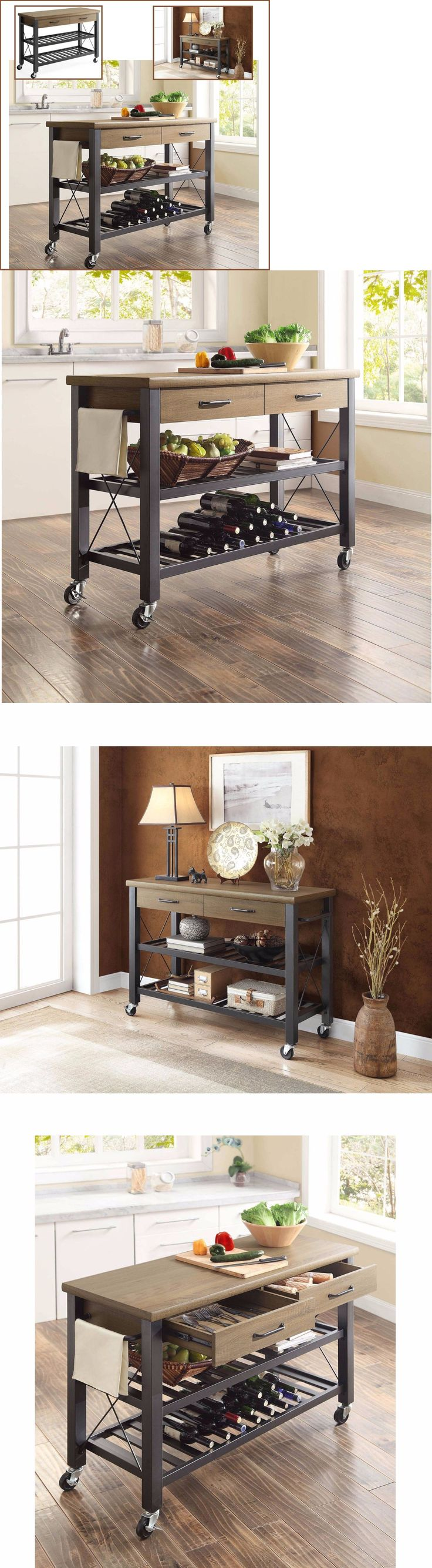 Wood swivel desk chair laquered finish warms amp padded seat ebay - Kitchen Islands Kitchen Carts 115753 Industrial Kitchen Cart Island Bar Sofa Table Drawers Shelf Rustic
