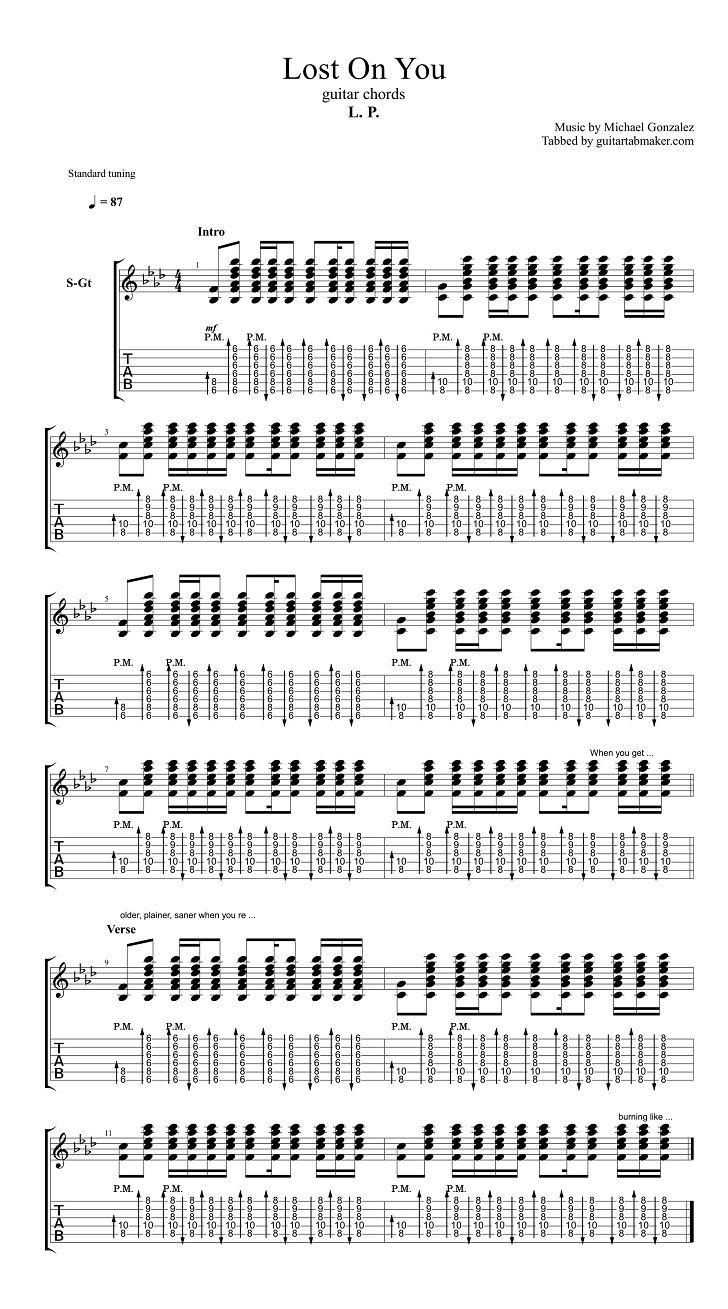 LP - Lost On You guitar chords - acoustic guitar songs - pdf