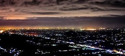 Star hill at Yogyakarta, Indonesia. Beautiful scenery at night.