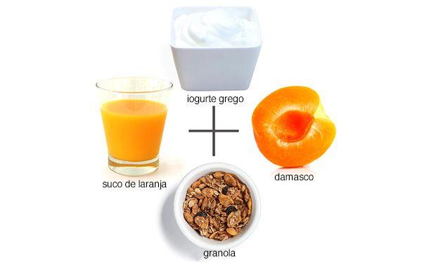 Taça grega: iogurte grego + damasco + granola