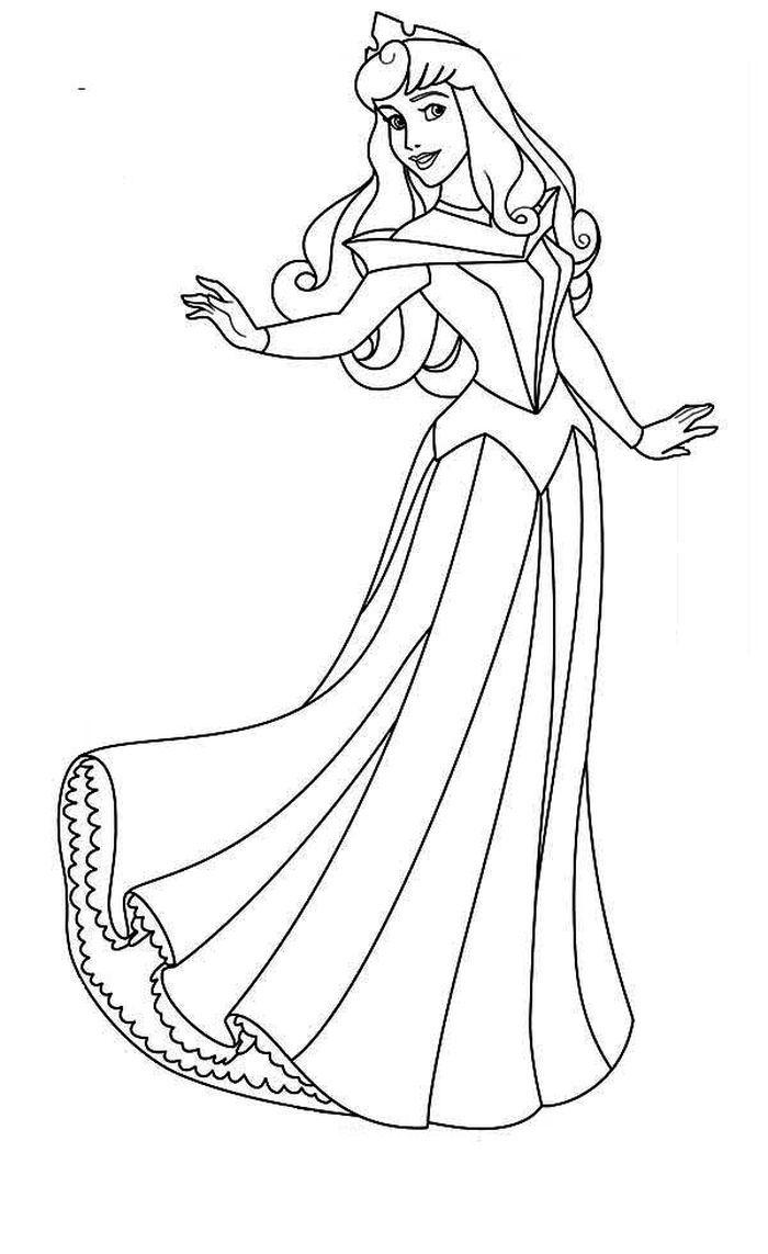 Princess Aurora Coloring Pages PDF - Coloringfolder.com in 9