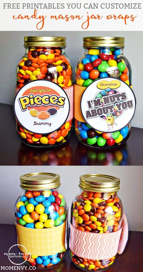Candy Mason Jar Gifts Free Printables you can customize from http://momenvy.co. Reeses Pieces and Peanut M & M themed mason jar wraps. Gift ideas for Mother's Day, Father's Day, Birthdays, Christmas, Neighbhors, teachers, and more. Free printables. Free gifts. Gift ideas.