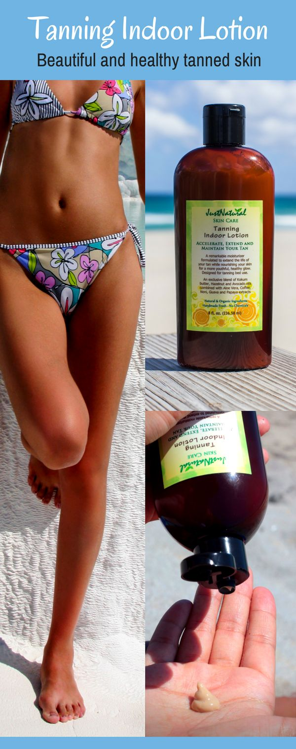 This natural indoor tanning lotion offers a tan that looks like you got it at the beach, it is easy to use, smells great and gives great results. Can be used at the beach or in a tanning bed.  It is a fool of amazing ingredients like aloe vera, coffee extract, kokum, mango, cocoa butter, avocado, hazelnut, andiroba oil, proof way to get a safe, beautiful tanning skin.