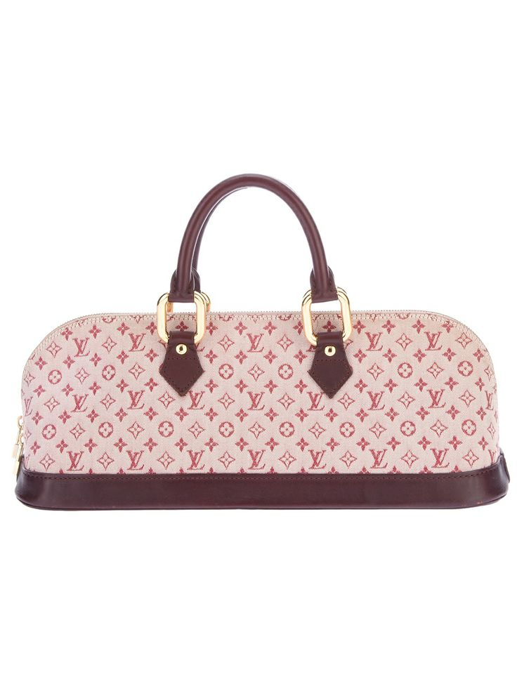 """Louis Vuitton vintage """"Idylle"""" monogram tote from A.N.G.E.L.O. Pink cotton tote from Louis Vuitton featuring a rectangular shape, a top zip fastening, two curved leather top handles with gold-tone hardware, a reinforced leather base, an interior zip fastening pocket and fully lined in nude fabric."""