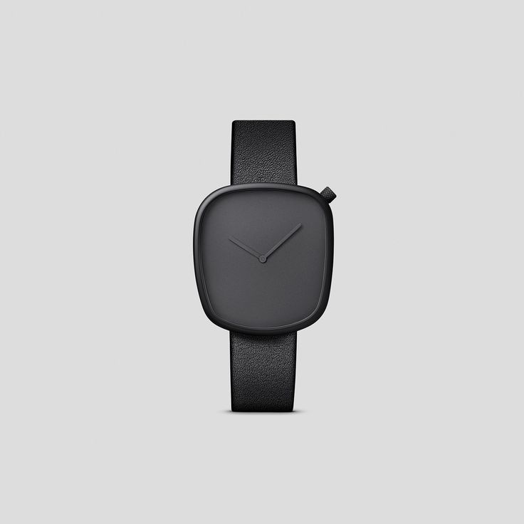 BLACK STEEL ON BLACK, ITALIAN LEATHER.  Designed by acclaimed, Danish design trio, KiBiSi, and inspired by the worn pebbles found along Scandinavian coastlines, the Pebble watch is a carefully considered timepiece created through a comprehensive process combining time-honored craft and idea-driven innovation.