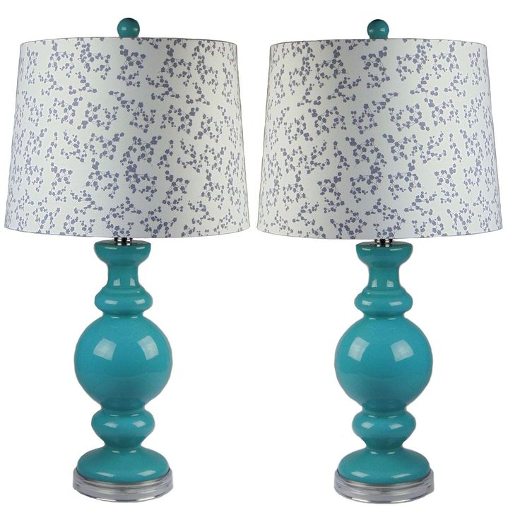 JT LIGHTING Kalin Teal Table Lamp set of 2 - 27 inches H