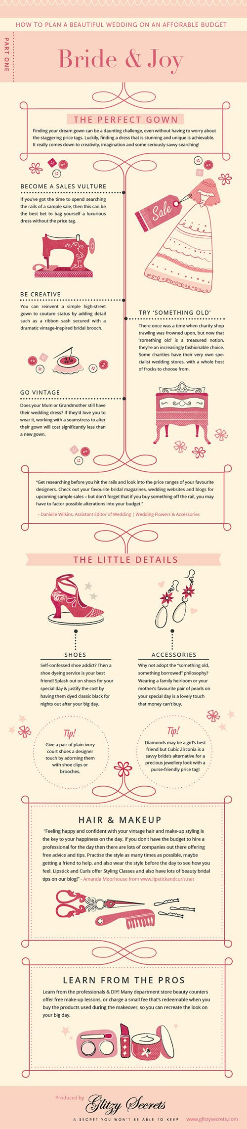 Budget Wedding Ideas - Part 1 of a fun series of wedding infographics from Glitzy Secrets full of savvy saving tips feat. experts @Judy Clark magazine and @Lee Ann Dockery-Robinson and Curls