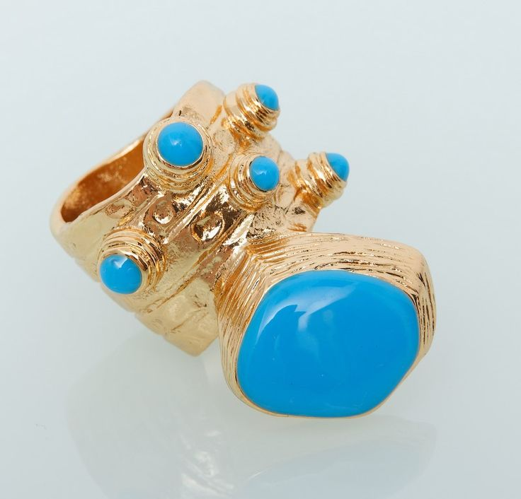 Кольцо YSL Yves Saint Laurent золото с голубым #19019