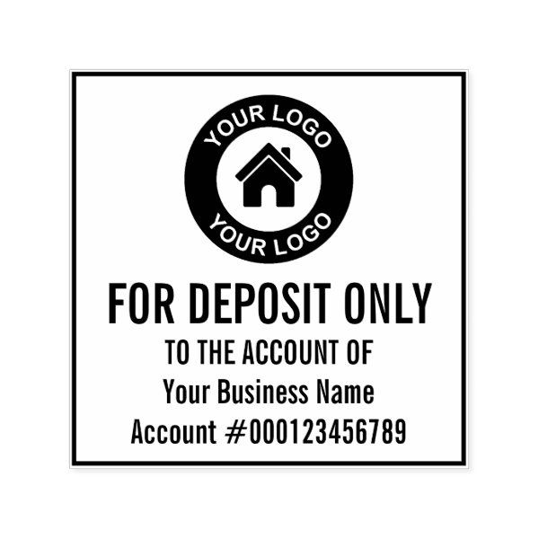 For Deposit Only Company Logo Bank Account Number Self Inking Stamp Zazzle Com With Images Company Logo Self Inking Stamps Business Stamps