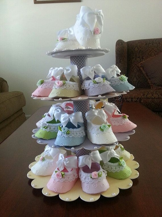 Baby Shower Shoe Favor Stand With Shoe Favors by TheCarriageShoppe