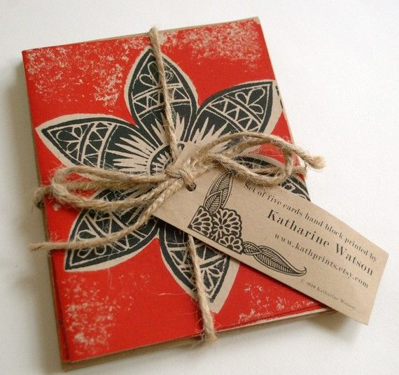 Block print wrapping paper or centerpiece! LOVE!