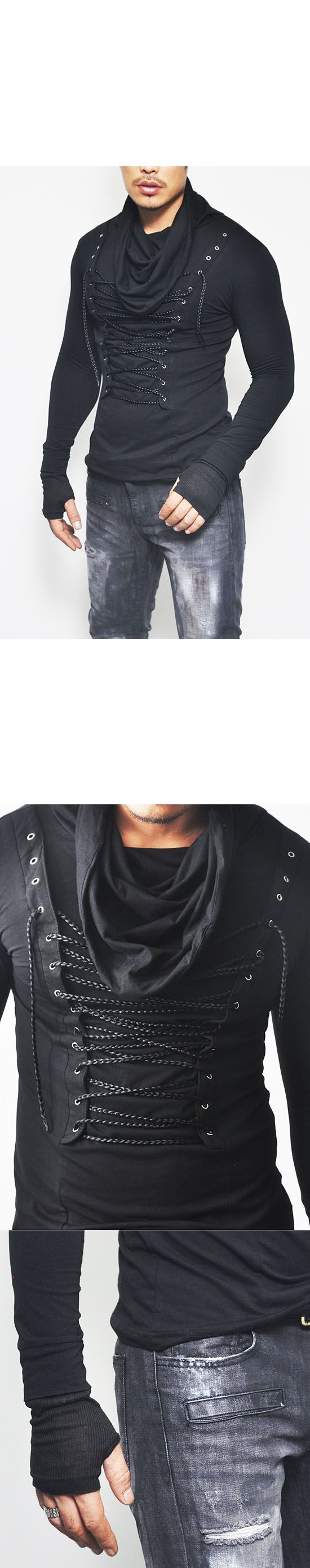 Tops :: Eyelet Turtle Shirring Slim Armwarmer-Tee 240 - Mens Fashion Clothing For An Attractive Guy Look