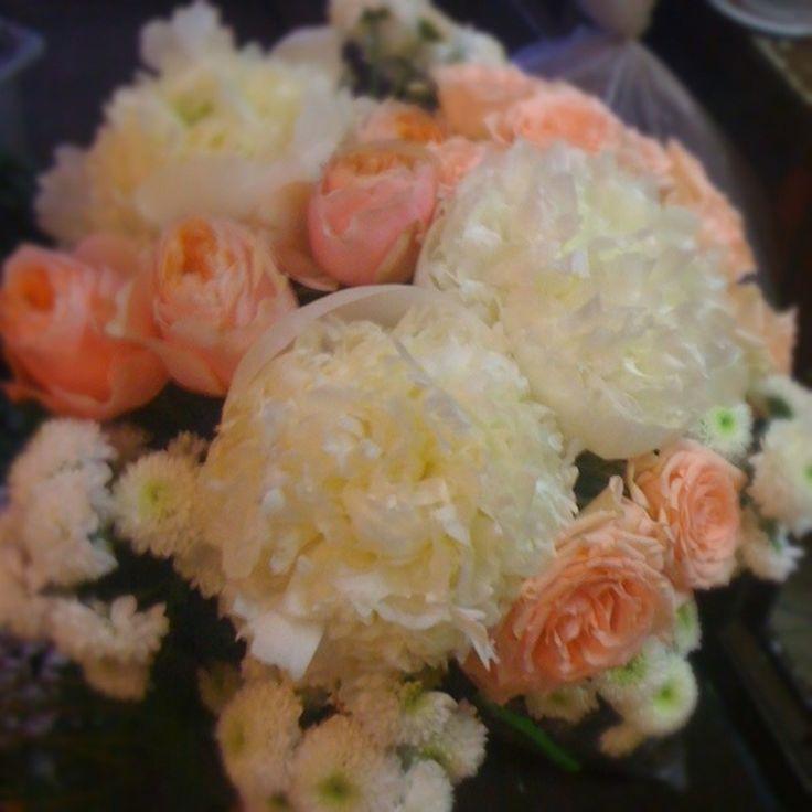 Кремовый букет свадьба цветы wedding букет невесты пионы