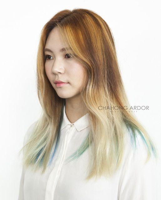 #Sherbet #orange #green #twotone #color #hair #beauty #cut #chahongardor