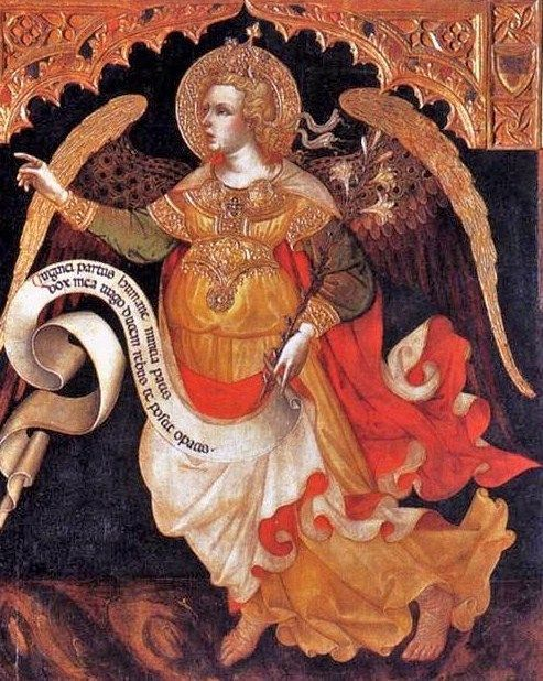 Jacobello del Fiore (Italian painter, c 1370-1439) Archangel Gabriel making announcements to God's people from painting Justice between the Archangels Michael and Gabriel, 1421.