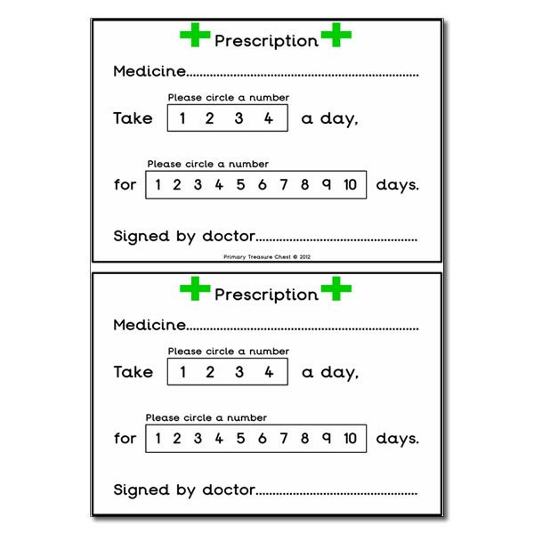 Doctors' Surgery Role Play Prescription Worksheets