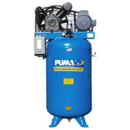 Puma Industries Air Compressor, TN-5080VM3, Professional/Commercial/Industrial Two Stage Belt Drive Series, 5 HP Running, 175 Max PSI, 230, 460/3 Voltage/Phase, 80 Gallons, 535 lbs.