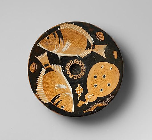Terracotta fish-plate  Attributed to the Helgoland Painter - Greek, South Italian, Campanian, ca. 350–325 B.C. Late Classical.