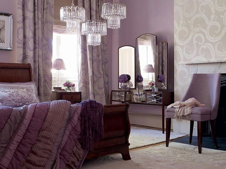 Purple & grey bedroom; damask  Aww- I kinda like this! @Sarah Heckendorn