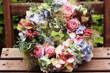 『Wild Strawberry』さんのフラワーアレンジメント1Day Lessonでした♪ hydrangea  wreath  #hydrangea #wreath #紫陽花
