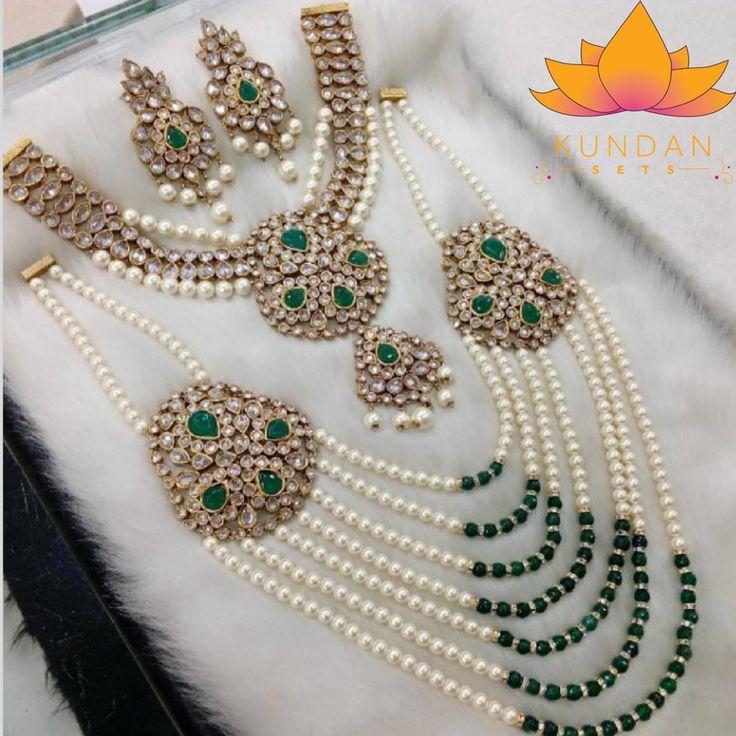 Green pearl polki necklace set